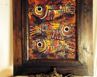 "Colorful Abstract Painting "" Three Fish,"" on Canvas c1970s Signed Estrella"