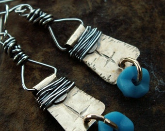 Tribal Dangles -:- Sterling silver wrapped OK Gold earrings, blue African Trade beads. Tribal. Boho. Rustic