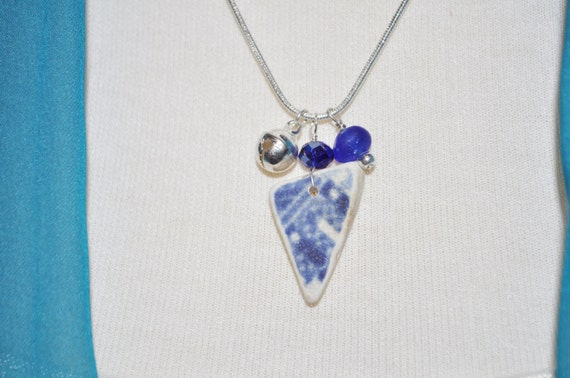 Singing Sea Glass Charm Necklace in Blue Pottery Sterling Silver Bell and Crystal Cobalt 2274
