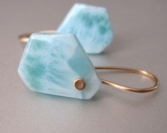 Small Larimar Angular Drops Solid 14k Gold Earrings