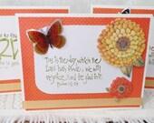 Handmade Scripture Note Cards Orange Summer Marigolds Set of Five