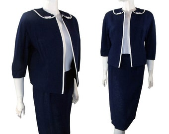 vintage 1960s Dark Navy Blue Rayon 2 Piece Suit Jacket & Pencil Skirt Bow Trim s / m