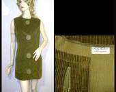 Patty Woodard mod 1960s mini dress - Medium Large - khaki green cotton corduroy shift - huge buttons - California unusual tunic top vest