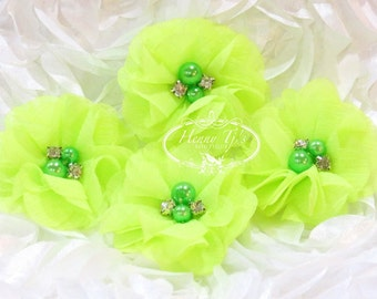 NEW: 4 pcs Aubrey NEON YELLOW - Soft Chiffon with pearls and rhinestones Mesh Layered Small Fabric Flowers, Hair accessories