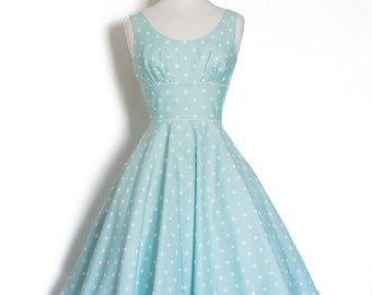 UK Size 10 Mint Green Polka Dot Cotton Scoop Neck Dress- Made by Dig For Victory