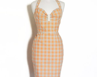 Peach Checked Bustier Halter Pencil Dress- Made by Dig For Victory