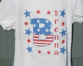 Girls 4th of July Shirt Initial Shirt with Stars and Name Shirt or Bodysuit Preemie Newborn 3 mo  6mo 9 mo 18 mo 24 mo 2t 3t 4t 5 6 8 10 12