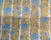 Vintage Blue Roses and Stripes Fabric -  2 Yards