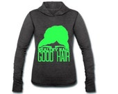 Black Healthy Hair over Good Hair Women's Tri-Blend Performance Hooded Long Sleeve T-Shirt