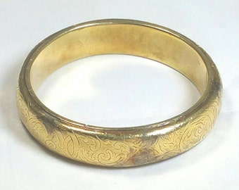 Gold Etched Metal Bangle Bracelet Unsigned