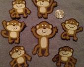 SALE! 7 Retro Monkeys Brown Flannel No Sew Iron On Appliques Cotton Patches