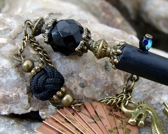 Jet Black Dragon Hair Stick with Brass Folding Fan and Antique Bronze Accents - Tanis