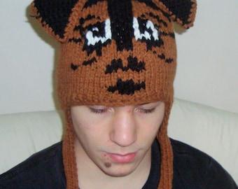 Brown Dog Hat Mens Hat - Airedale Terrier Hat - Cinnamon Brown Knit Hat - Brown Dog Hat Brown Hat Brown Beanie Winter Hat
