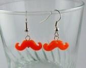 Neon Orange Mustache Earrings