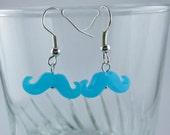 Neon Blue Mustache Earrings