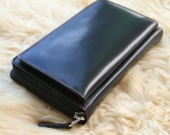 Genuine Leather Zipper Around Wallet in two toned, Clutch, Rare 1990's style