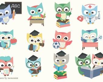 50% OFF SALE  School Owl Clip art Set 02 - 12 Digital Clipart Set for digital scrapbooking, frame, tag, lable, invitation, stationery