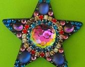 "Rowdy Rainbow, 2 3/4"" shining star, swarovski fireball, rainbow sparkle, star, magical, glittery, fairy, festival, fun"