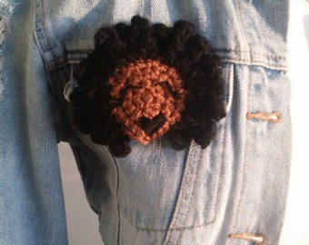natural hair pin/ natural hair art/dark lipstick/afro pin/ Mocha noire kinky chick broach/natural hair pin/ natural hair gifts