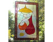 SALE Stained Glass Window Panel Kitchen Decor Red Purple Retro Handmade