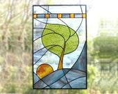 Stained Glass Panel Modern Blue Tree Stained Glass Window Panel Handmade OOAK - Windy Sunrise