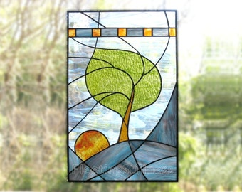 Stained Glass Panel Modern Blue Tree Stained Glass Window Panel Handmade OOAK - Windy Sunrise