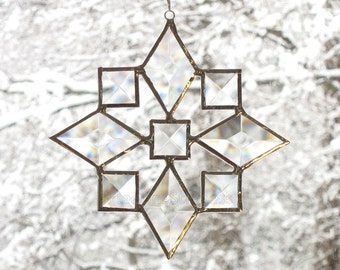 Stained Glass Star Suncatcher Beveled Star Snowflake Christmas Ornament (9bv) Handmade OOAK