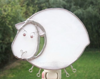 Nightlight White Sheep Night Light Stained Glass Handmade OOAK Kids Nursery