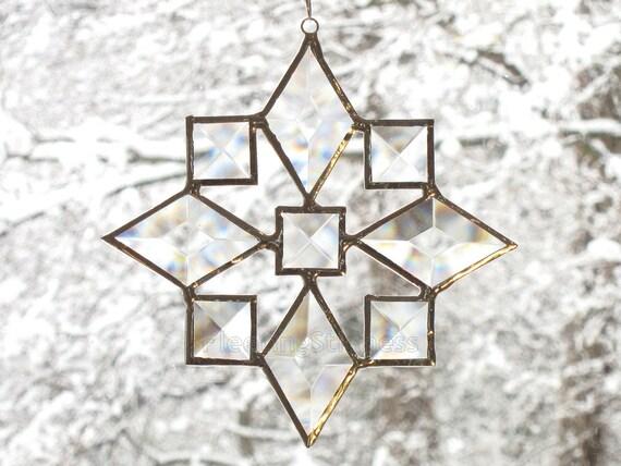 Stained Glass Star Suncatcher Beveled Star Snowflake Christmas Ornament (9bv) Handmade OOAK