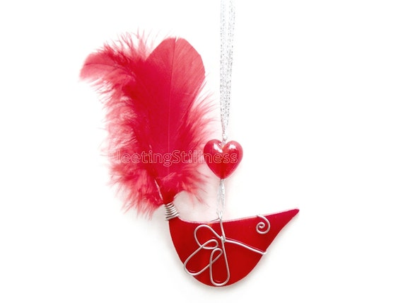 Stained Glass Suncatcher Red Bird Christmas Ornament Handmade