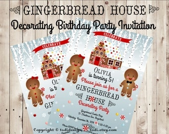 Gingerbread House decorating BIRTHDAY party invitation - Holiday Birthday Invitation - Winter Birthday