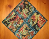 Fabric Coasters, Contemporary Paisley Blue Green Orange Red Quilted Table Mats Handmade