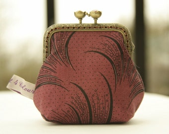 Bronze metal frame coin purse/ old pink pearls /Downton Abbey Women's collection/ Mary's plume/ black feathers on bordeaux