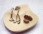 Heart earrings laser cut bamboo natural wood look eco friendly jewelry dangly nickel free hearts on chain cute