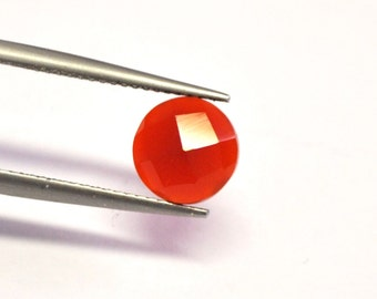 Carnelian Agate Round Faceted Cabochon - 8.2 x 3.9 mm - 1.9 ct - 150128-10