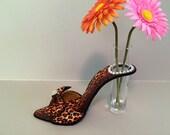 High heel bud vase leopard print