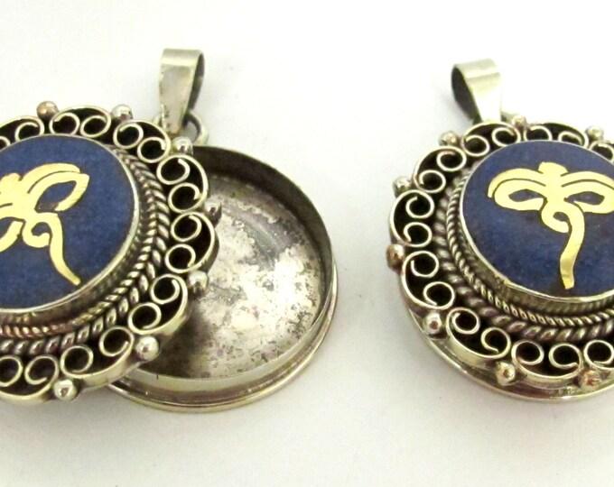Tibetan Ghau prayer box filigree pendant with buddha eye lapis inlay - PM256B