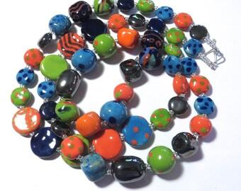 Kazuri Bead Necklace, Fair Trade Beads, Ceramic Necklace, Turquoise, Lime Green, Orange