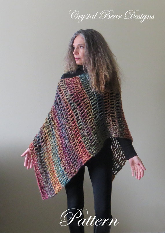 Easy Crochet Poncho Patterns For Beginners : Easy Crochet Poncho PATTERN / Asymmetrical Poncho / Shawl Wrap