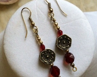 Earrings-Red-Czech-Glass-Brass-Bead-Dangle-Valentine-Gift