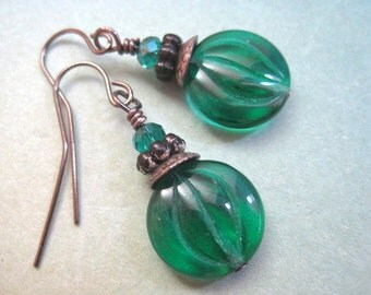 Green Glass Earrings, Czec Glass, Gunmetal Earrings, Emerald Green, Modern Jewelry, Layered Design