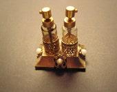 Vintage Perfume bottle-holder, twin perfume bottles metal holder1950's