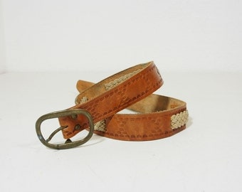 Vintage Western Tooled Leather and Rope Belt