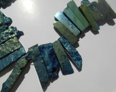 Gemstone Sliced Electro Blue Gold  Agate Slab Bead Shards, Large Pendant focal Chunky Beads, 28-60mm  x14-18mm