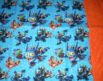 Skylanders cotton Pillowcase -  with orange tonal border  - Fits Standard and Queen size pillows