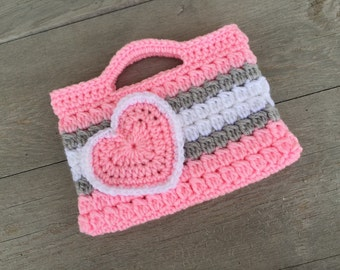 Pink and Gray Valentine's Purse Kids Crochet Purse