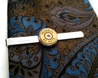 Mens Bullet Tie Bar Tie Clip For Him Police Military Soldier Hunter Outdoorsman Cowboy Rancher Edgy