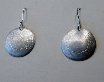 Sterling Silver Japanese Coin Earrings