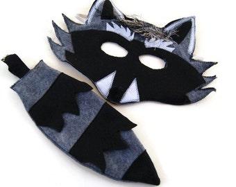 Raccoon Costume, Raccoon Mask and Raccoon Tail, Woodland Animal, Animal Birthday Party Favor, Halloween Costume