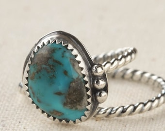 Blue Turquoise Ring, Sterling Silver Ring, Southwest Ring, Cocktail Ring Size9  ready to ship